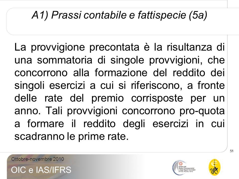 51 Ottobre-novembre 2010 OIC e IAS/IFRS A1) Prassi contabile e fattispecie (5a) La provvigione precontata è la risultanza di una sommatoria di singole
