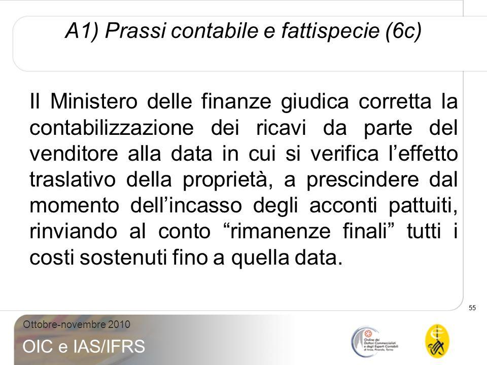 55 Ottobre-novembre 2010 OIC e IAS/IFRS A1) Prassi contabile e fattispecie (6c) Il Ministero delle finanze giudica corretta la contabilizzazione dei r