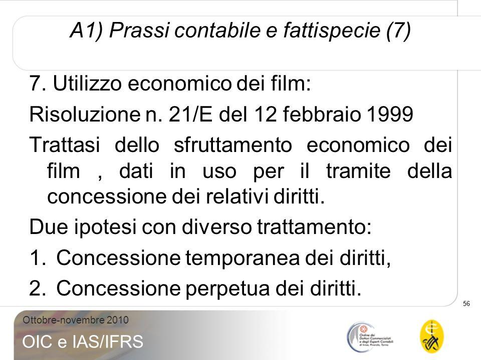 56 Ottobre-novembre 2010 OIC e IAS/IFRS A1) Prassi contabile e fattispecie (7) 7. Utilizzo economico dei film: Risoluzione n. 21/E del 12 febbraio 199