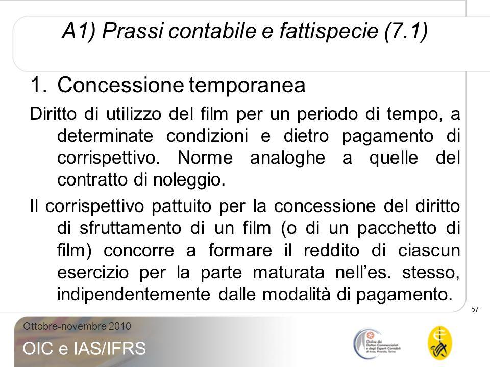 57 Ottobre-novembre 2010 OIC e IAS/IFRS A1) Prassi contabile e fattispecie (7.1) 1.Concessione temporanea Diritto di utilizzo del film per un periodo