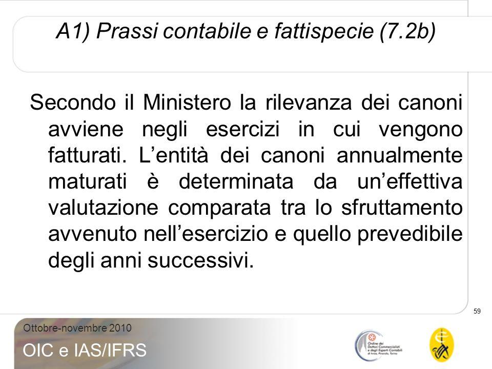 59 Ottobre-novembre 2010 OIC e IAS/IFRS A1) Prassi contabile e fattispecie (7.2b) Secondo il Ministero la rilevanza dei canoni avviene negli esercizi