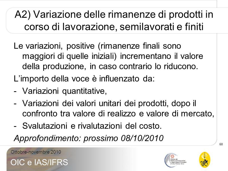 60 Ottobre-novembre 2010 OIC e IAS/IFRS A2) Variazione delle rimanenze di prodotti in corso di lavorazione, semilavorati e finiti Le variazioni, posit