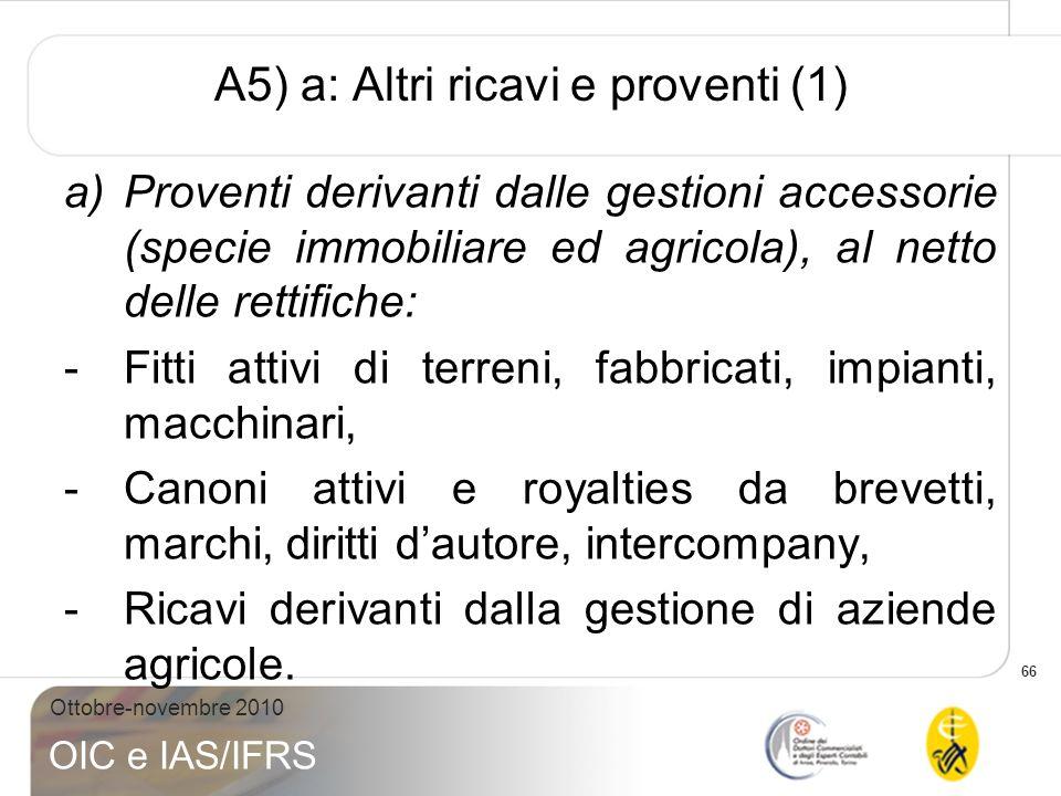 66 Ottobre-novembre 2010 OIC e IAS/IFRS A5) a: Altri ricavi e proventi (1) a)Proventi derivanti dalle gestioni accessorie (specie immobiliare ed agric