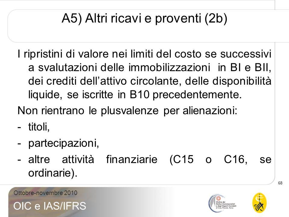 68 Ottobre-novembre 2010 OIC e IAS/IFRS A5) Altri ricavi e proventi (2b) I ripristini di valore nei limiti del costo se successivi a svalutazioni dell