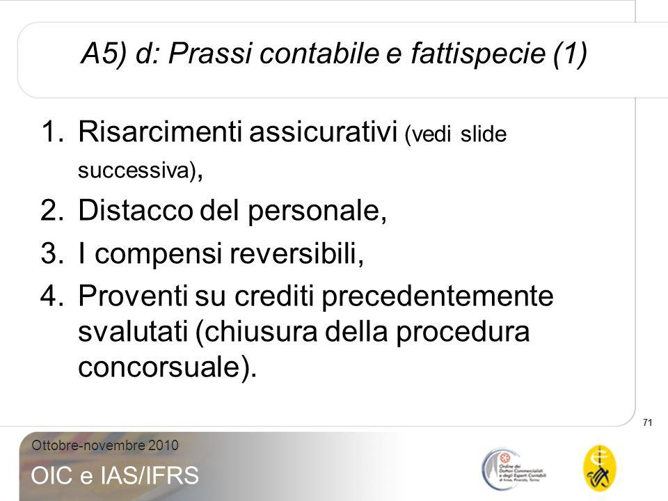 71 Ottobre-novembre 2010 OIC e IAS/IFRS A5) d: Prassi contabile e fattispecie (1) 1.Risarcimenti assicurativi (vedi slide successiva), 2.Distacco del