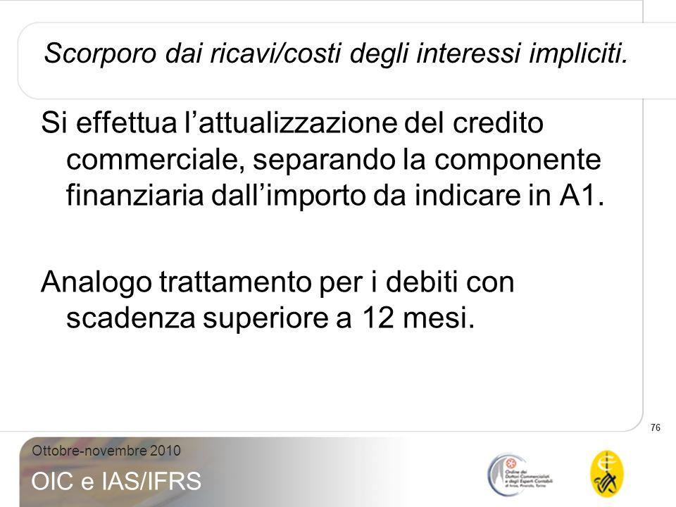 76 Ottobre-novembre 2010 OIC e IAS/IFRS Scorporo dai ricavi/costi degli interessi impliciti. Si effettua lattualizzazione del credito commerciale, sep