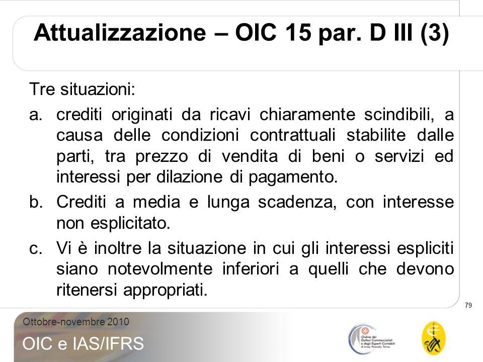 79 Ottobre-novembre 2010 OIC e IAS/IFRS Tre situazioni: a.crediti originati da ricavi chiaramente scindibili, a causa delle condizioni contrattuali st