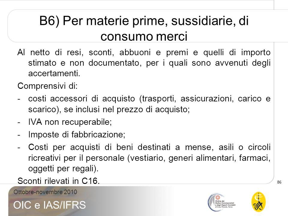 86 Ottobre-novembre 2010 OIC e IAS/IFRS B6) Per materie prime, sussidiarie, di consumo merci Al netto di resi, sconti, abbuoni e premi e quelli di imp