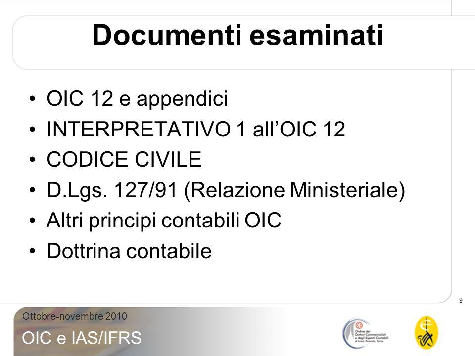 9 Ottobre-novembre 2010 OIC e IAS/IFRS Documenti esaminati OIC 12 e appendici INTERPRETATIVO 1 allOIC 12 CODICE CIVILE D.Lgs. 127/91 (Relazione Minist