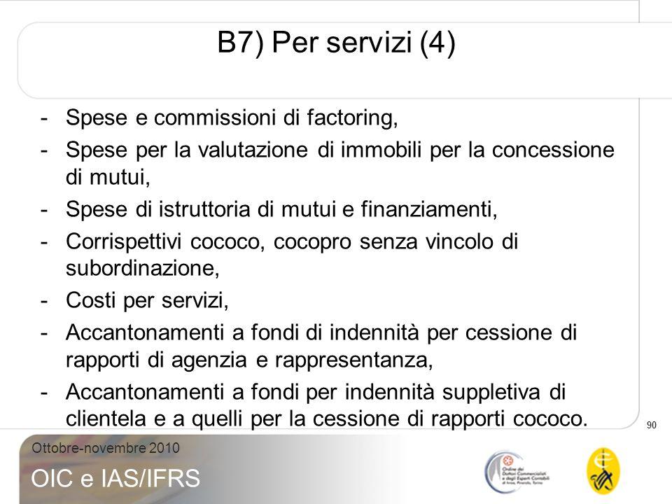 90 Ottobre-novembre 2010 OIC e IAS/IFRS -Spese e commissioni di factoring, -Spese per la valutazione di immobili per la concessione di mutui, -Spese d
