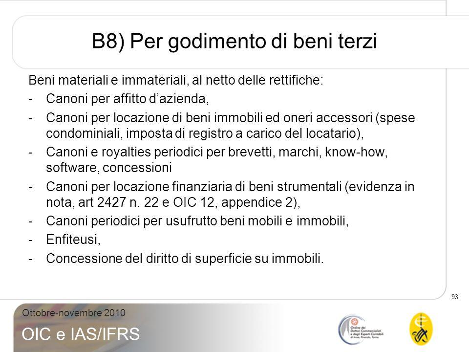93 Ottobre-novembre 2010 OIC e IAS/IFRS B8) Per godimento di beni terzi Beni materiali e immateriali, al netto delle rettifiche: -Canoni per affitto d
