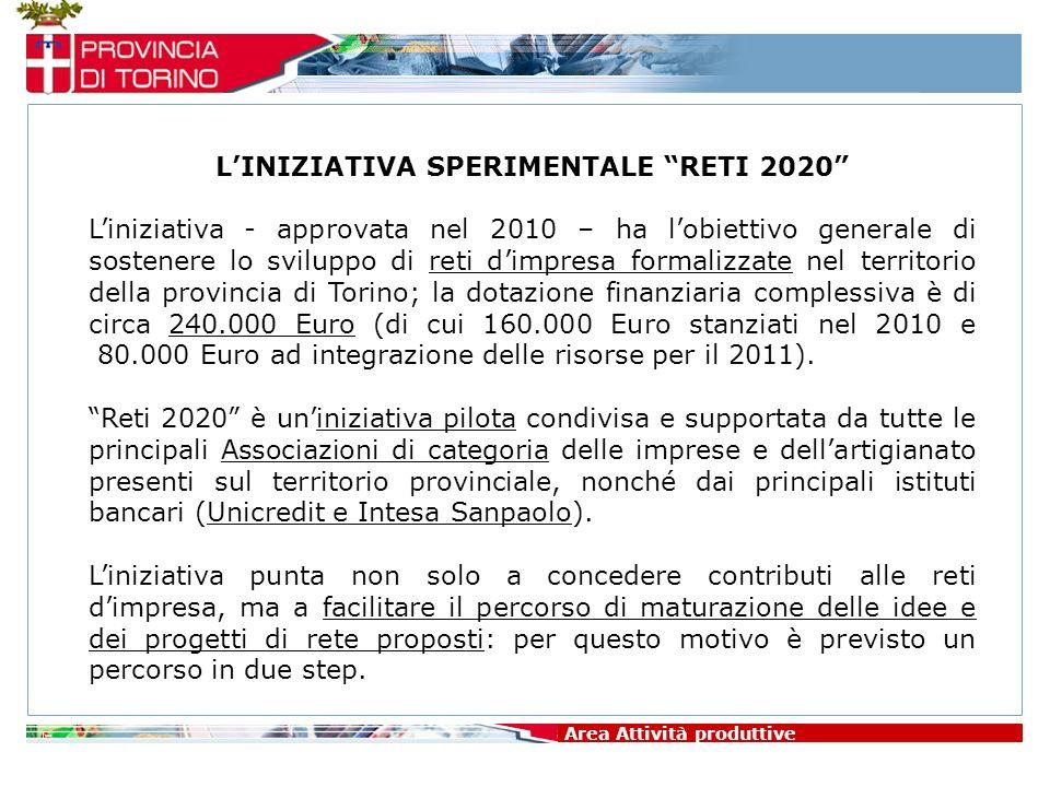 Area Attività produttive LINIZIATIVA SPERIMENTALE RETI 2020 Liniziativa - approvata nel 2010 – ha lobiettivo generale di sostenere lo sviluppo di reti