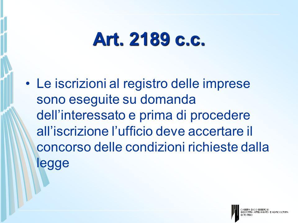 Art. 2189 c.c. Le iscrizioni al registro delle imprese sono eseguite su domanda dellinteressato e prima di procedere alliscrizione lufficio deve accer