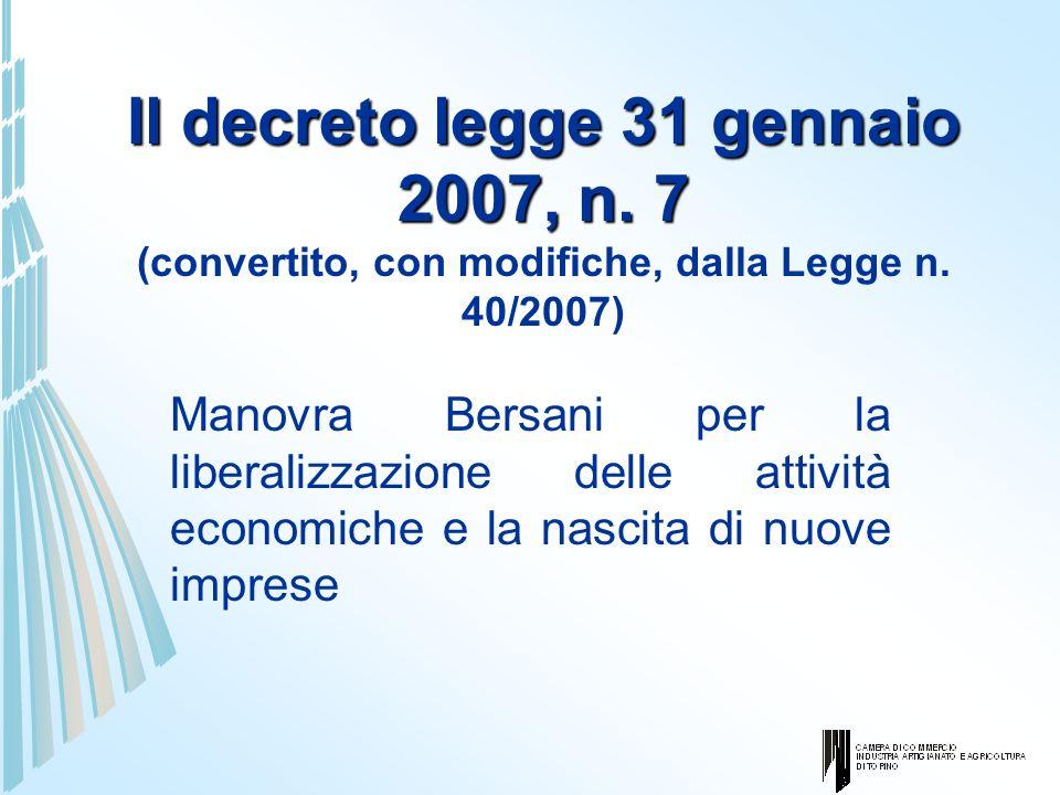 Il decreto legge 31 gennaio 2007, n. 7 Il decreto legge 31 gennaio 2007, n. 7 (convertito, con modifiche, dalla Legge n. 40/2007) Manovra Bersani per