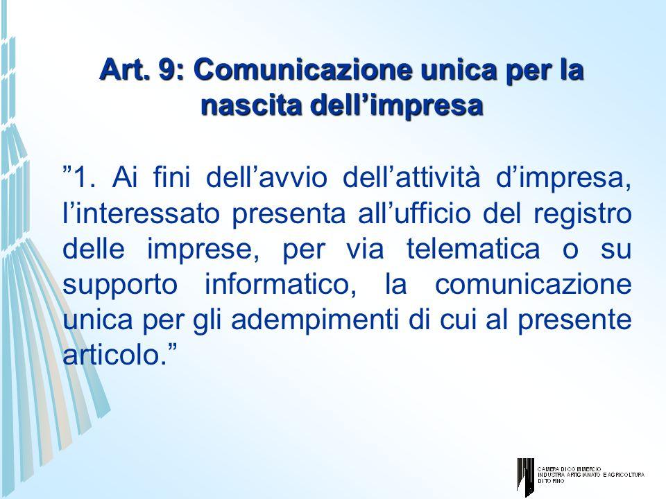 Art. 9: Comunicazione unica per la nascita dellimpresa 1. Ai fini dellavvio dellattività dimpresa, linteressato presenta allufficio del registro delle