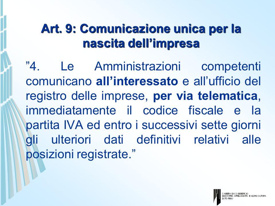 Art. 9: Comunicazione unica per la nascita dellimpresa 4. Le Amministrazioni competenti comunicano allinteressato e allufficio del registro delle impr