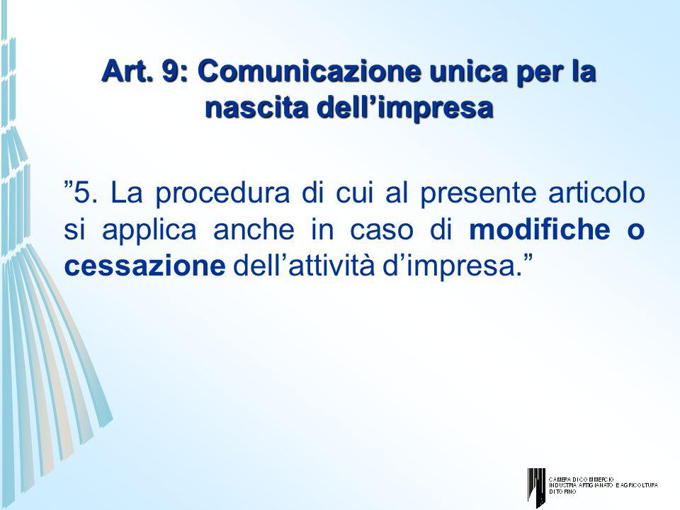 Art. 9: Comunicazione unica per la nascita dellimpresa 5. La procedura di cui al presente articolo si applica anche in caso di modifiche o cessazione