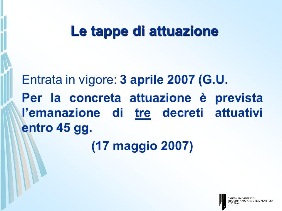 Le tappe di attuazione Entrata in vigore: 3 aprile 2007 (G.U. Per la concreta attuazione è prevista lemanazione di tre decreti attuativi entro 45 gg.