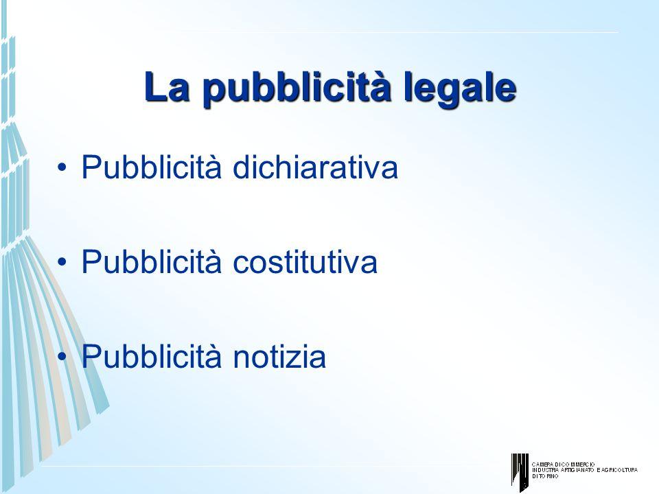 La pubblicità legale Pubblicità dichiarativa Pubblicità costitutiva Pubblicità notizia