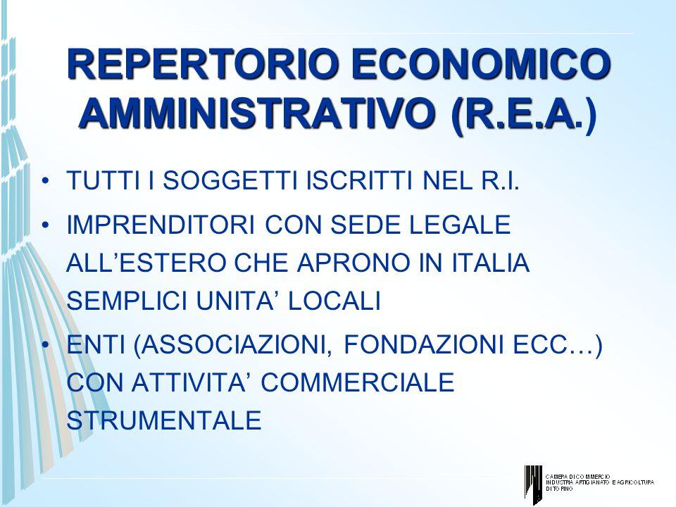 REPERTORIO ECONOMICO AMMINISTRATIVO (R.E.A REPERTORIO ECONOMICO AMMINISTRATIVO (R.E.A.) TUTTI I SOGGETTI ISCRITTI NEL R.I. IMPRENDITORI CON SEDE LEGAL