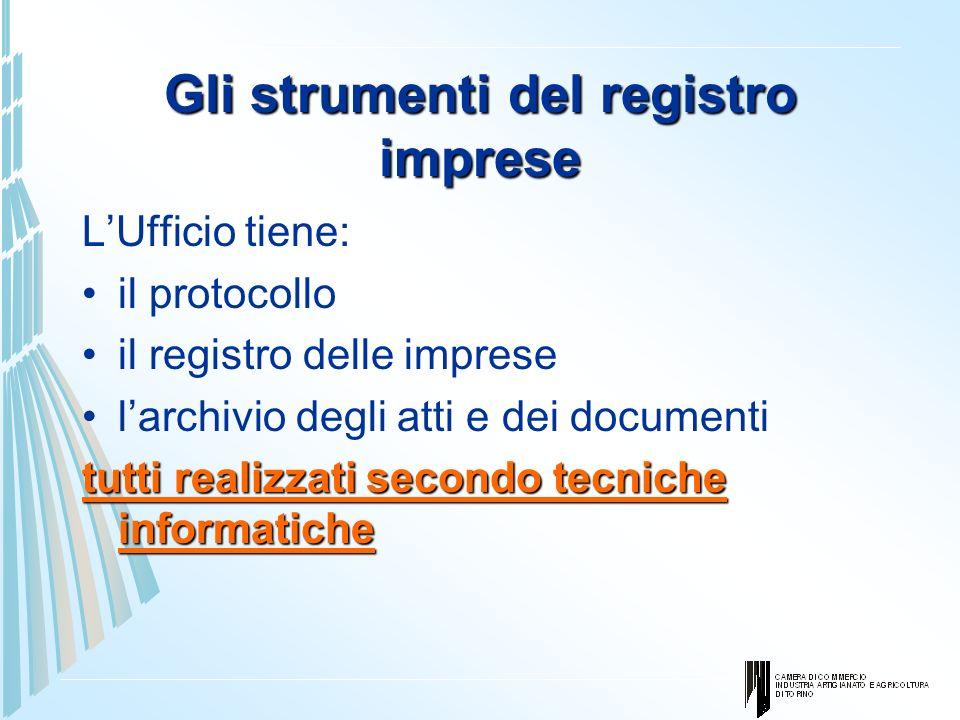 Gli strumenti del registro imprese LUfficio tiene: il protocollo il registro delle imprese larchivio degli atti e dei documenti tutti realizzati secon