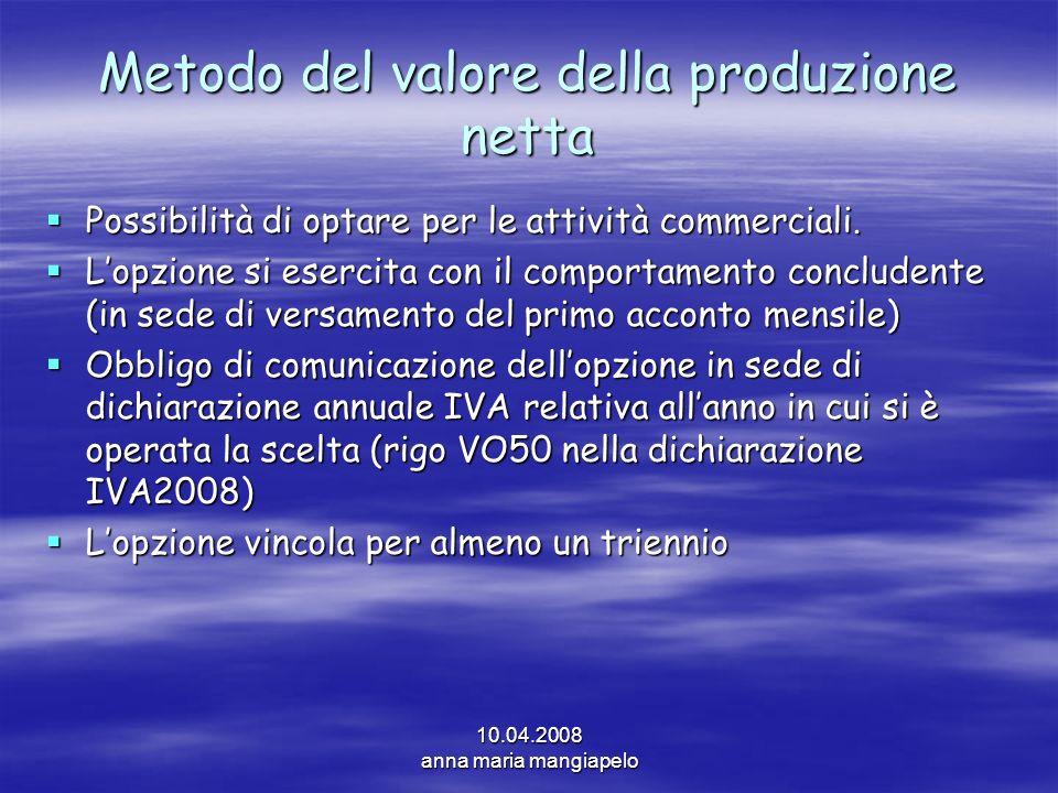 10.04.2008 anna maria mangiapelo Metodo del valore della produzione netta Possibilità di optare per le attività commerciali. Possibilità di optare per