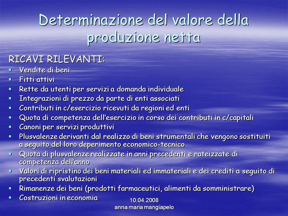 10.04.2008 anna maria mangiapelo Determinazione del valore della produzione netta RICAVI RILEVANTI: Vendite di beni Vendite di beni Fitti attivi Fitti