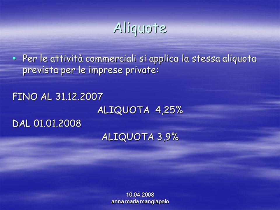 10.04.2008 anna maria mangiapelo Aliquote Per le attività commerciali si applica la stessa aliquota prevista per le imprese private: Per le attività c
