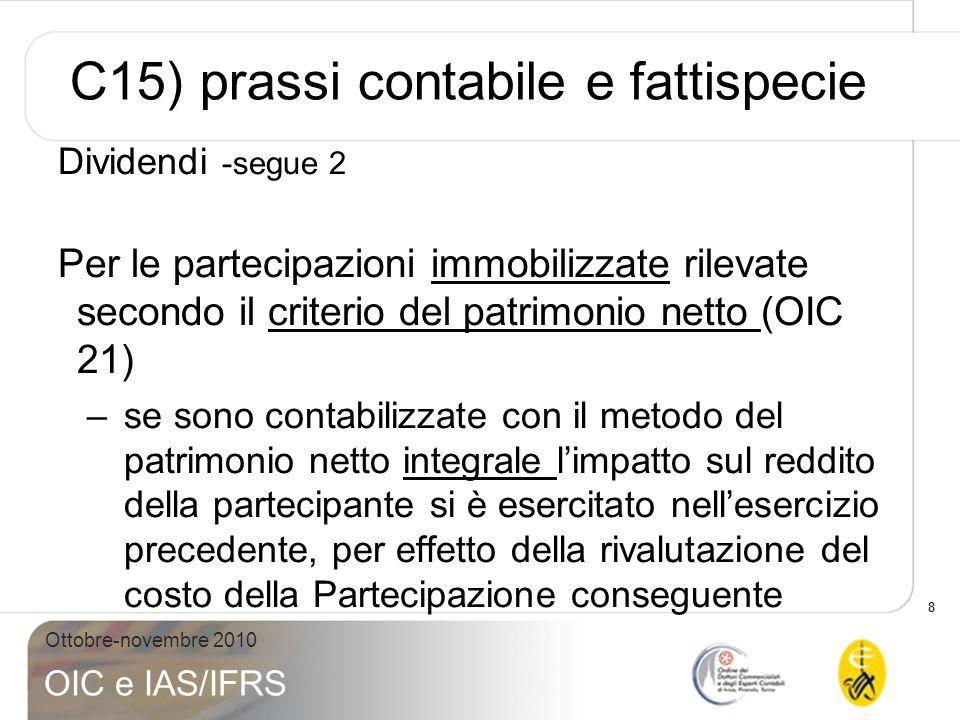 19 Ottobre-novembre 2010 OIC e IAS/IFRS C16 a) prassi contabile e fattispecie Presunzione di fruttuosità: lart.