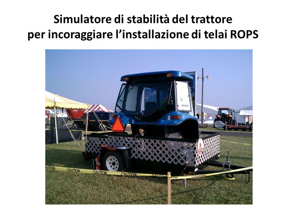 Simulatore di stabilità del trattore per incoraggiare linstallazione di telai ROPS
