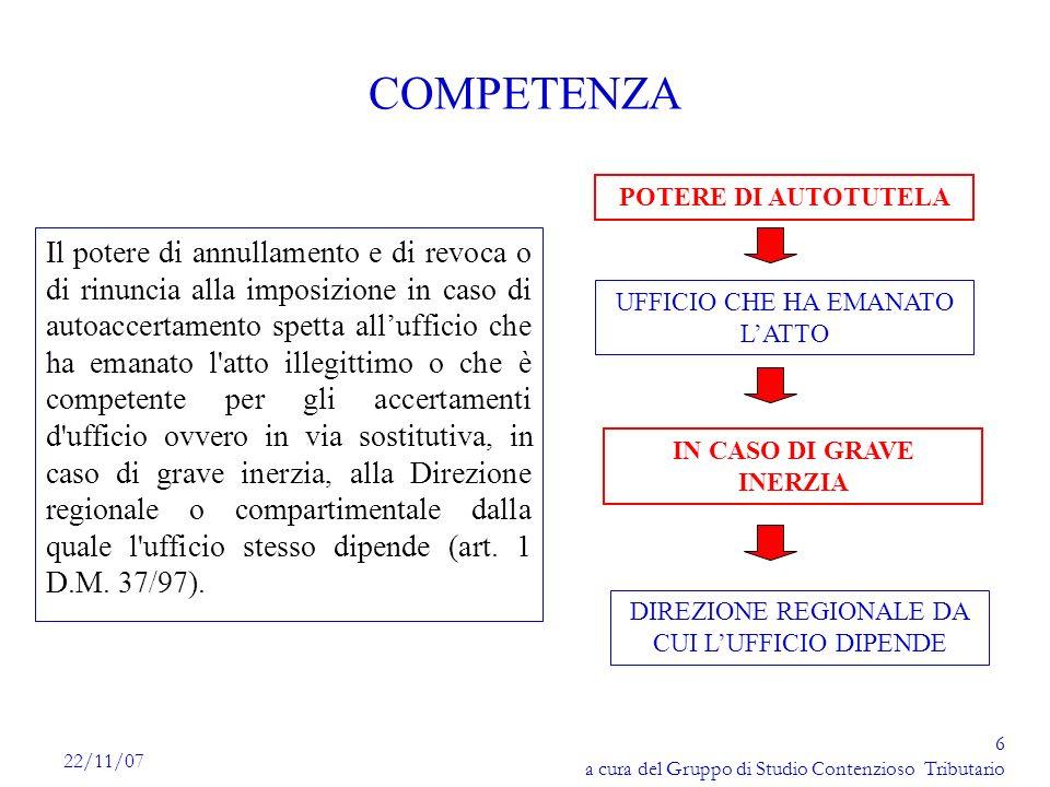 7 a cura del Gruppo di Studio Contenzioso Tributario 22/11/07 GRAVE INERZIA Non si procede al riesame; Non si comunica il risultato al contribuente; Il lasso di tempo della risposta è irragionevolmente lungo; Lammontare delle imposte, interessi e sanzioni è superiore a Euro 516.457 ( 1 miliardo di Lire); Ricorrono dei casi di illegittimità palese dellatto di cui allarticolo 2, comma 1, del D.M.