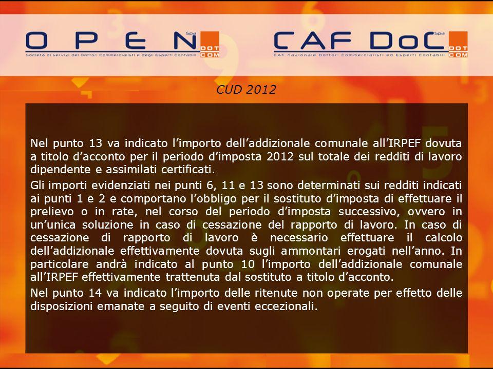 CUD 2012 Nel punto 13 va indicato limporto delladdizionale comunale allIRPEF dovuta a titolo dacconto per il periodo dimposta 2012 sul totale dei redd