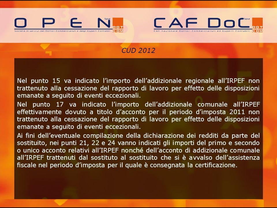 CUD 2012 Nel punto 15 va indicato limporto delladdizionale regionale allIRPEF non trattenuto alla cessazione del rapporto di lavoro per effetto delle