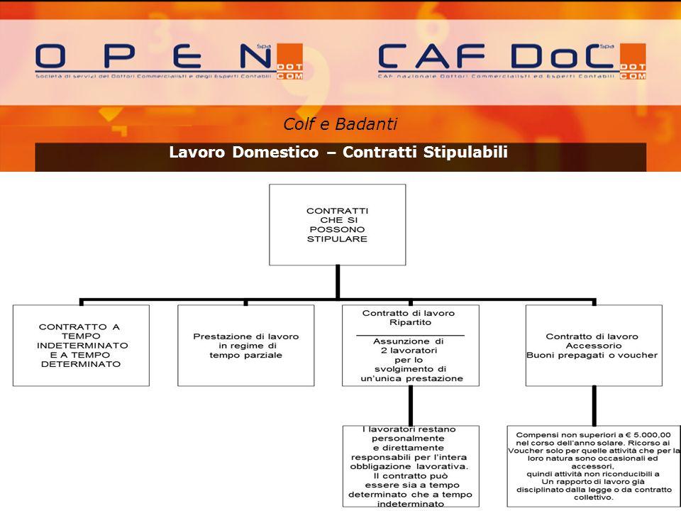 Colf e Badanti A cura di: Lavoro Domestico – Contratti Stipulabili