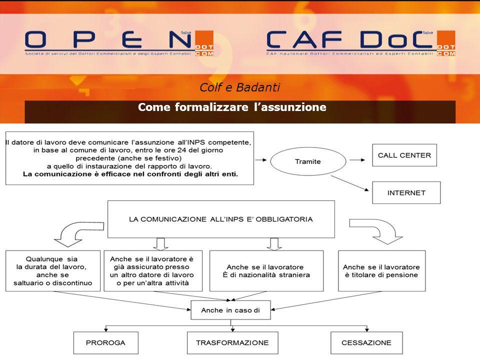 Colf e Badanti A cura di: Come formalizzare lassunzione