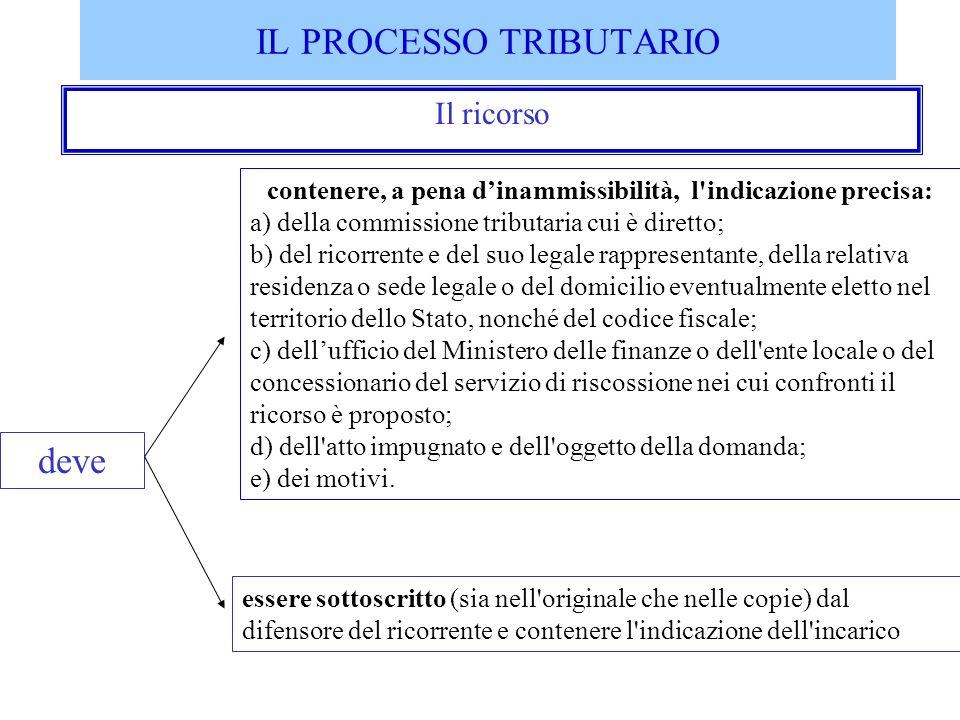 IL PROCESSO TRIBUTARIO Il ricorso contenere, a pena dinammissibilità, l'indicazione precisa: a) della commissione tributaria cui è diretto; b) del ric