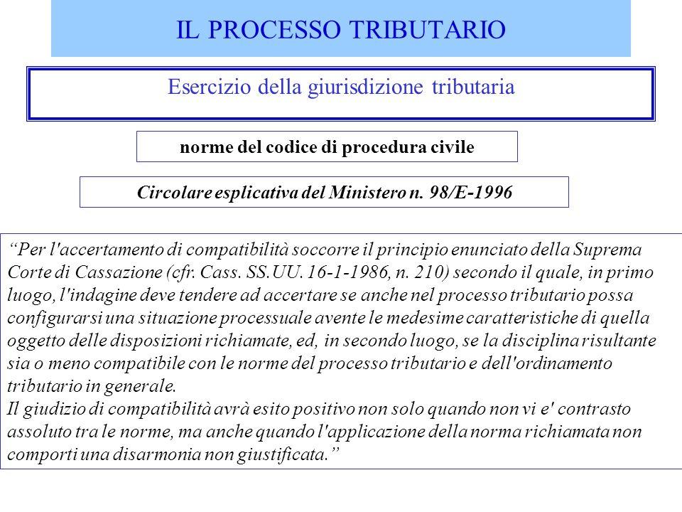 IL PROCESSO TRIBUTARIO Esercizio della giurisdizione tributaria Circolare esplicativa del Ministero n. 98/E-1996 Per l'accertamento di compatibilità s
