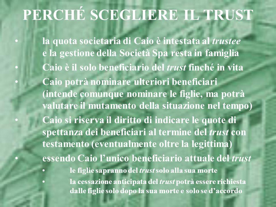 PERCHÉ SCEGLIERE IL TRUST la quota societaria di Caio è intestata al trustee e la gestione della Società Spa resta in famiglia Caio è il solo benefici