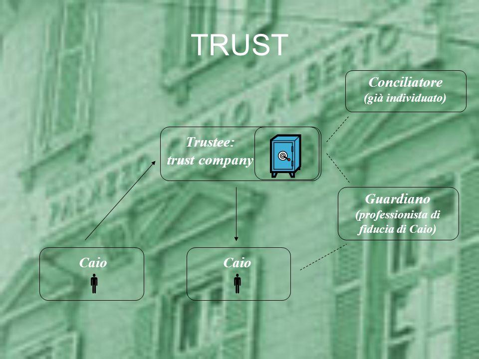 TRUST Trustee: trust company Caio Guardiano (professionista di fiducia di Caio) Conciliatore (già individuato) Caio