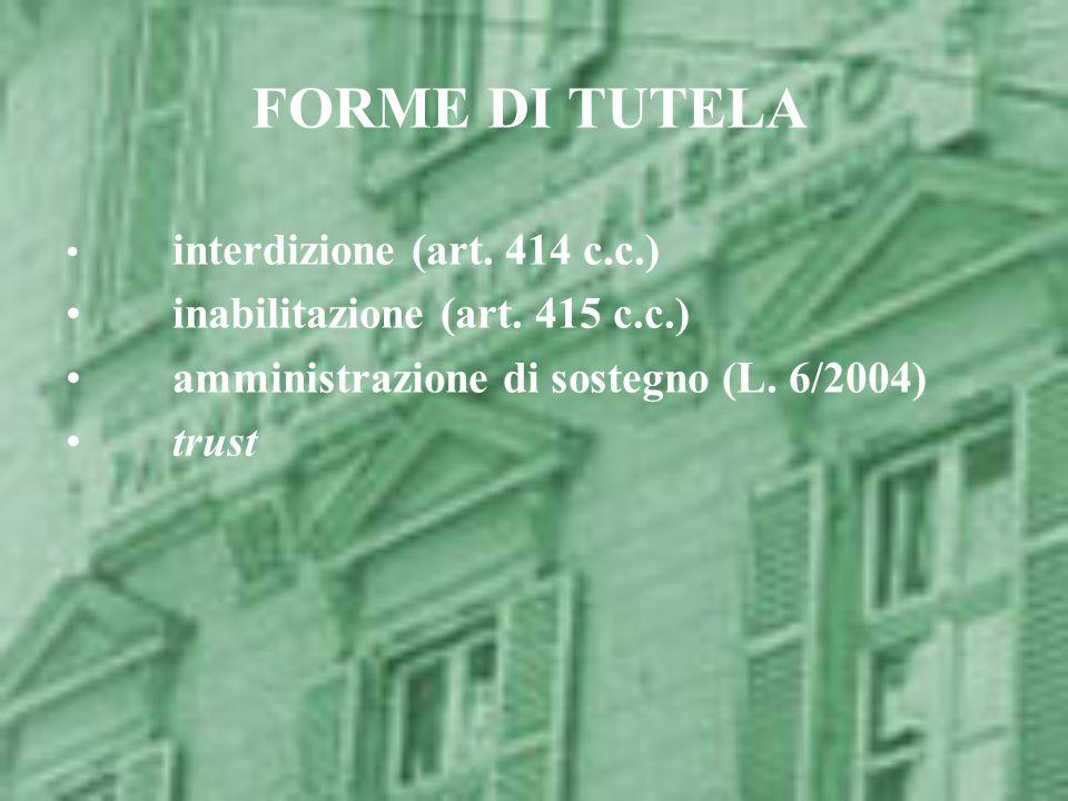 FORME DI TUTELA interdizione (art. 414 c.c.) inabilitazione (art. 415 c.c.) amministrazione di sostegno (L. 6/2004) trust