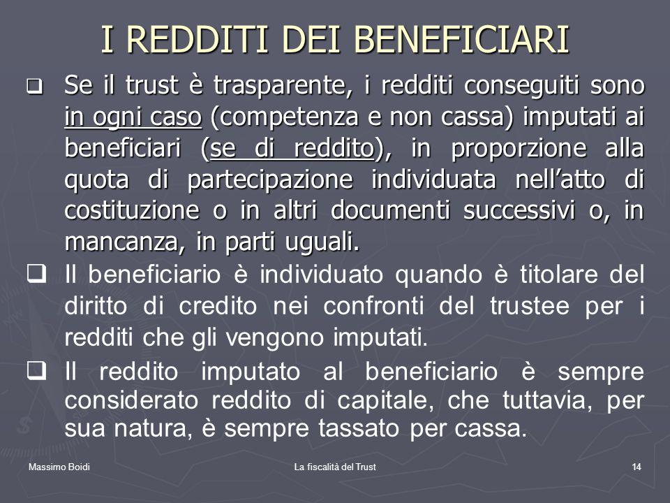 Massimo BoidiLa fiscalità del Trust14 I REDDITI DEI BENEFICIARI Se il trust è trasparente, i redditi conseguiti sono in ogni caso (competenza e non ca