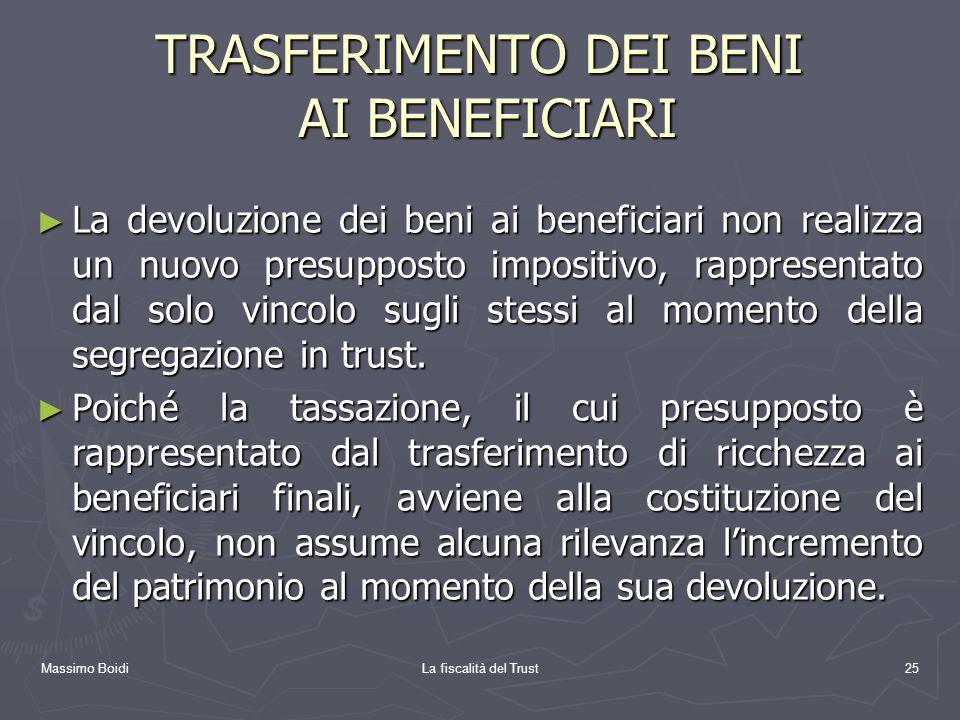 Massimo BoidiLa fiscalità del Trust25 TRASFERIMENTO DEI BENI AI BENEFICIARI La devoluzione dei beni ai beneficiari non realizza un nuovo presupposto i