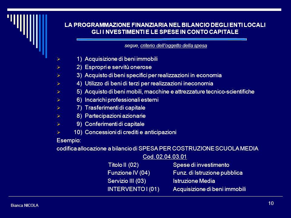 10 LA PROGRAMMAZIONE FINANZIARIA NEL BILANCIO DEGLI ENTI LOCALI GLI I NVESTIMENTI E LE SPESE IN CONTO CAPITALE segue, criterio delloggetto della spesa