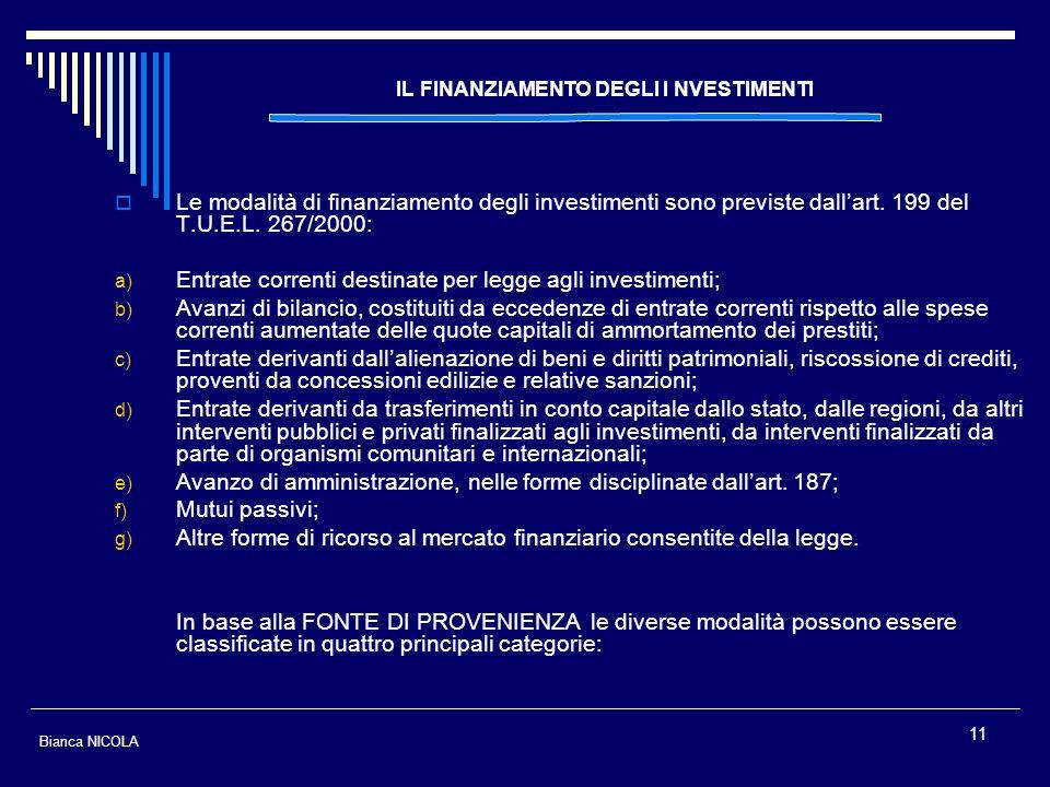11 IL FINANZIAMENTO DEGLI I NVESTIMENTI Le modalità di finanziamento degli investimenti sono previste dallart. 199 del T.U.E.L. 267/2000: a) Entrate c