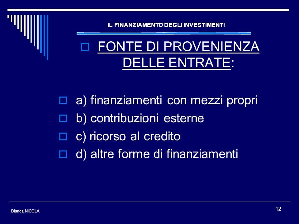 12 IL FINANZIAMENTO DEGLI INVESTIMENTI FONTE DI PROVENIENZA DELLE ENTRATE: a) finanziamenti con mezzi propri b) contribuzioni esterne c) ricorso al cr