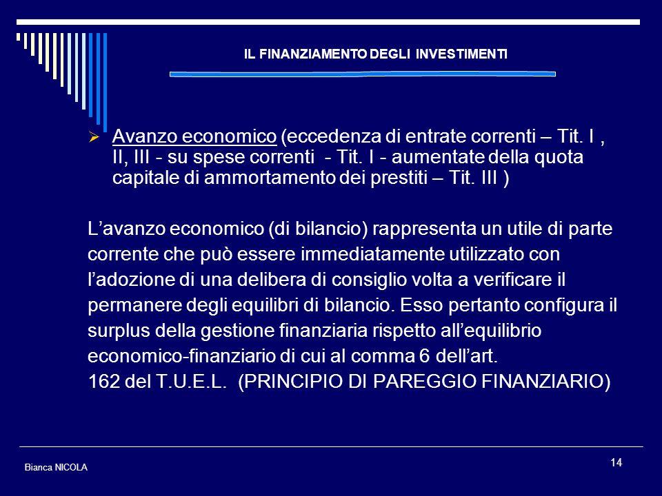 14 IL FINANZIAMENTO DEGLI INVESTIMENTI Avanzo economico (eccedenza di entrate correnti – Tit. I, II, III - su spese correnti - Tit. I - aumentate dell