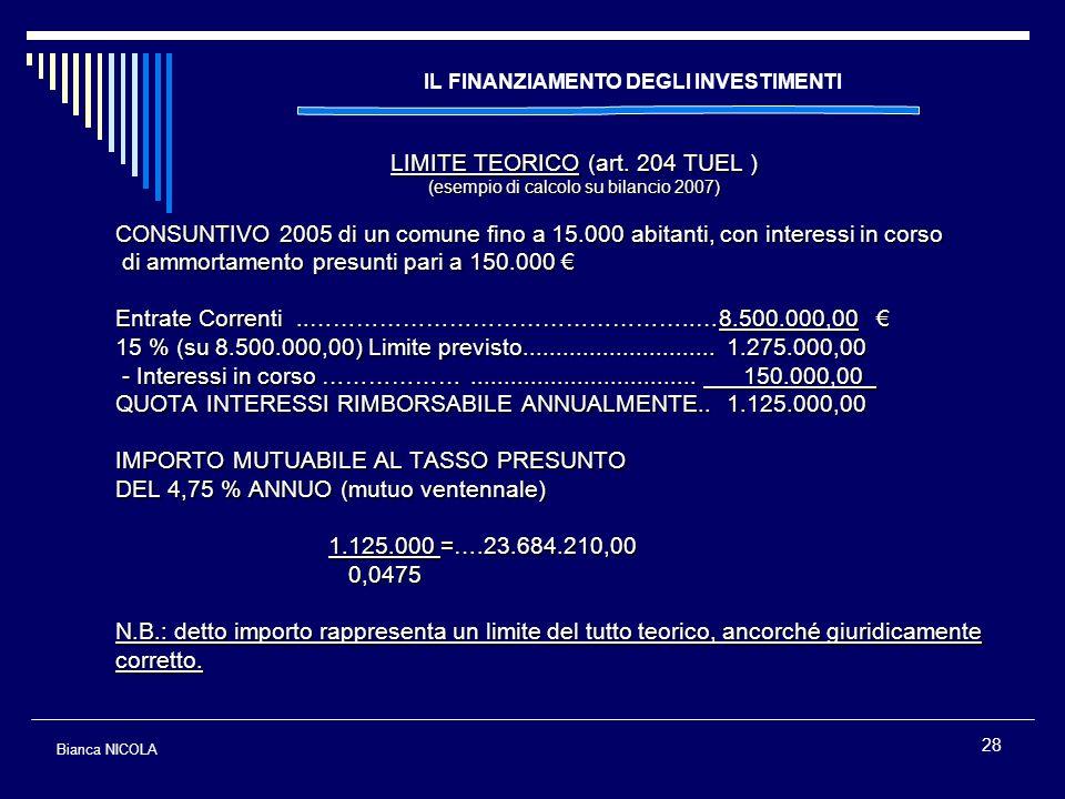 28 IL FINANZIAMENTO DEGLI INVESTIMENTI LIMITE TEORICO (art. 204 TUEL ) (esempio di calcolo su bilancio 2007) CONSUNTIVO 2005 di un comune fino a 15.00