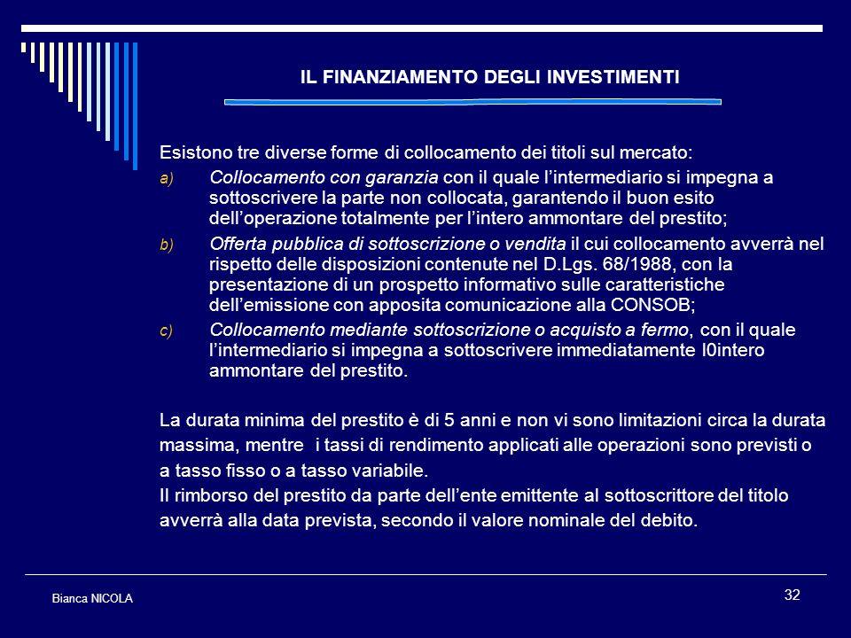 32 IL FINANZIAMENTO DEGLI INVESTIMENTI Esistono tre diverse forme di collocamento dei titoli sul mercato: a) Collocamento con garanzia con il quale li