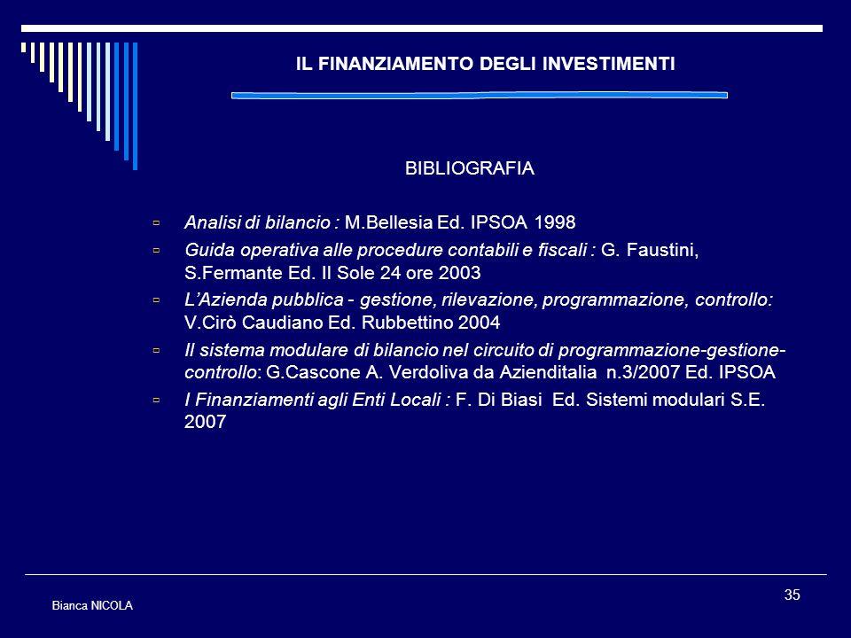 35 IL FINANZIAMENTO DEGLI INVESTIMENTI BIBLIOGRAFIA Analisi di bilancio : M.Bellesia Ed. IPSOA 1998 Guida operativa alle procedure contabili e fiscali