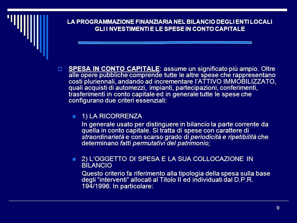 9 LA PROGRAMMAZIONE FINANZIARIA NEL BILANCIO DEGLI ENTI LOCALI GLI I NVESTIMENTI E LE SPESE IN CONTO CAPITALE SPESA IN CONTO CAPITALE: assume un signi